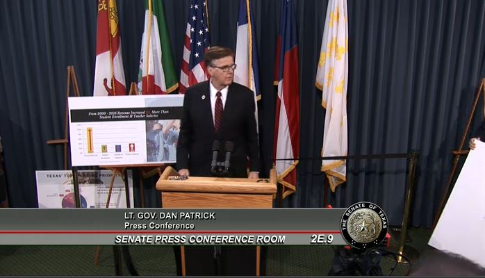 Lt. Gov. Dan Patrick told reporters on July 13, 2017, that his fellow Republican, House Speaker Joe Straus, had repeatedly refused to meet one on one in 2017 (screenshot of Patrick's press conference).