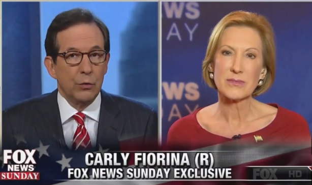 "Carly Fiorina on ""Fox News Sunday,"" Sept. 20, 2015. (Screengrab)"