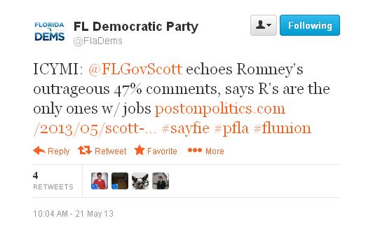 The Florida Democratic Party tweeted its displeasure with comments Gov. Rick Scott made at a GOP dinner.