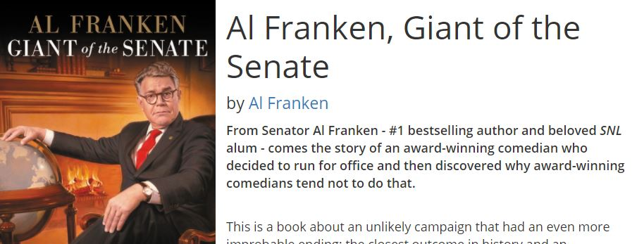 Sen. Al Franken has a book out May 30, 2017, with a chapter devoted to his U.S. Senate colleague, Republican Ted Cruz of Texas (screen image, Hatchette Book Group).