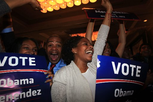Supporters cheer at U.S. Sen. Robert Menendez's election night headquarters.
