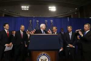 Sen. John McCain, center, and other members of the Gang of Eight talked immigration reform in Washington in April.