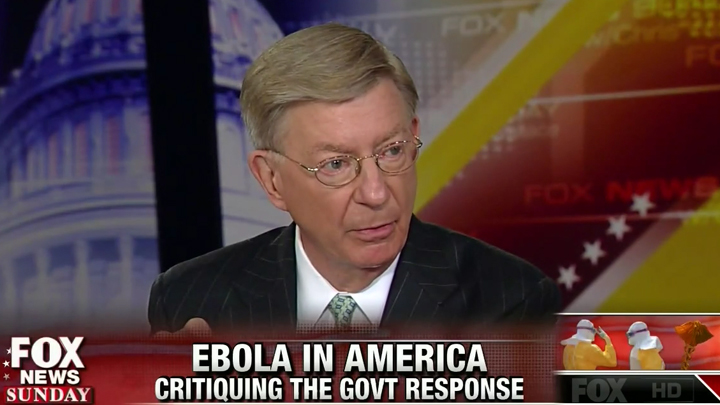 In an October 2014 appearance on Fox News, George Will claimed Ebola could be spread into the general population through a sneeze or a cough, saying the conventional wisdom that Ebola spreads only through direct contact with bodily fluids was wrong.