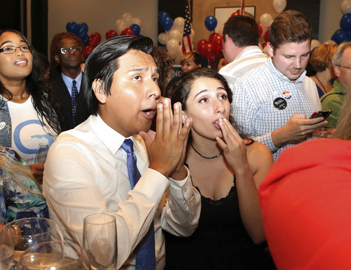 Andrew Gillum supporters Richard Lopez and Mara Cooper watch the screen as election results come in showing their candidate winning the Democratic primary for governor on Tuesday, Aug. 28, 2018, in Tallahassee, Fla. (AP Photo/Steve Cannon)
