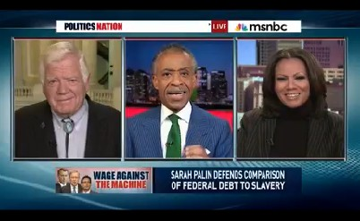 "On Tuesday's ""PoliticsNation,"" host Al Sharpton and guest Goldie Taylor confused debt with deficit."