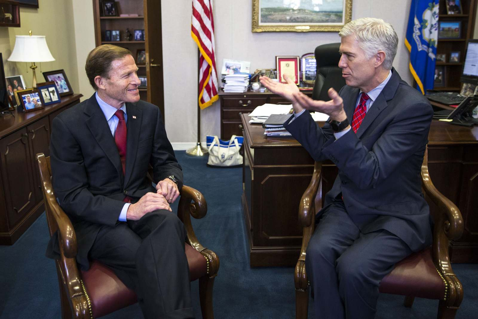 Judge Neil Gorsuch, President Donald Trump's pick for the Supreme Court vacancy, meets with Sen. Richard Blumenthal, D-Conn., in his offices on Capitol Hill in Washington, Feb. 8, 2017. (Al Drago/The New York Times)