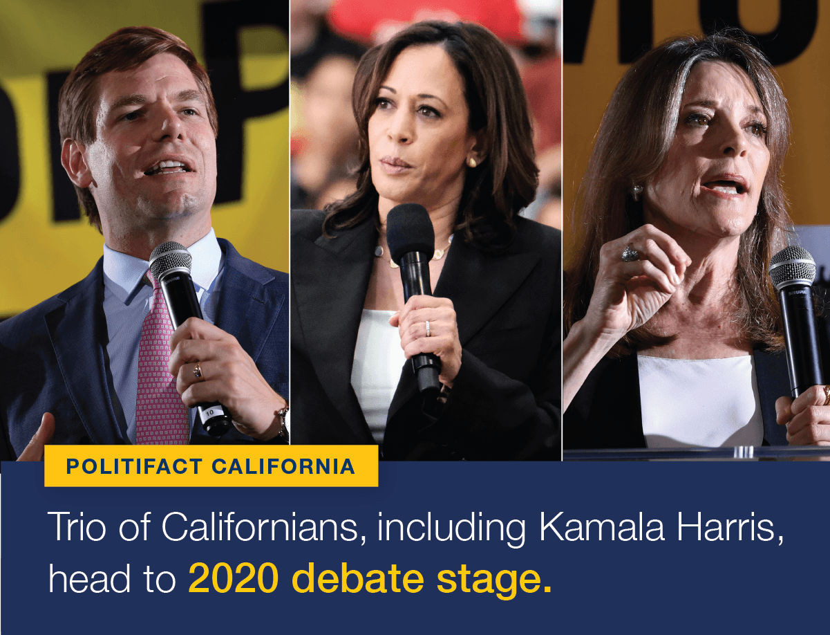 Three Californians, Sen. Kamala Harris, Rep. Eric Swalwell and author Marianne Williamson, will take part in tonight's Democratic presidential debate in Miami.