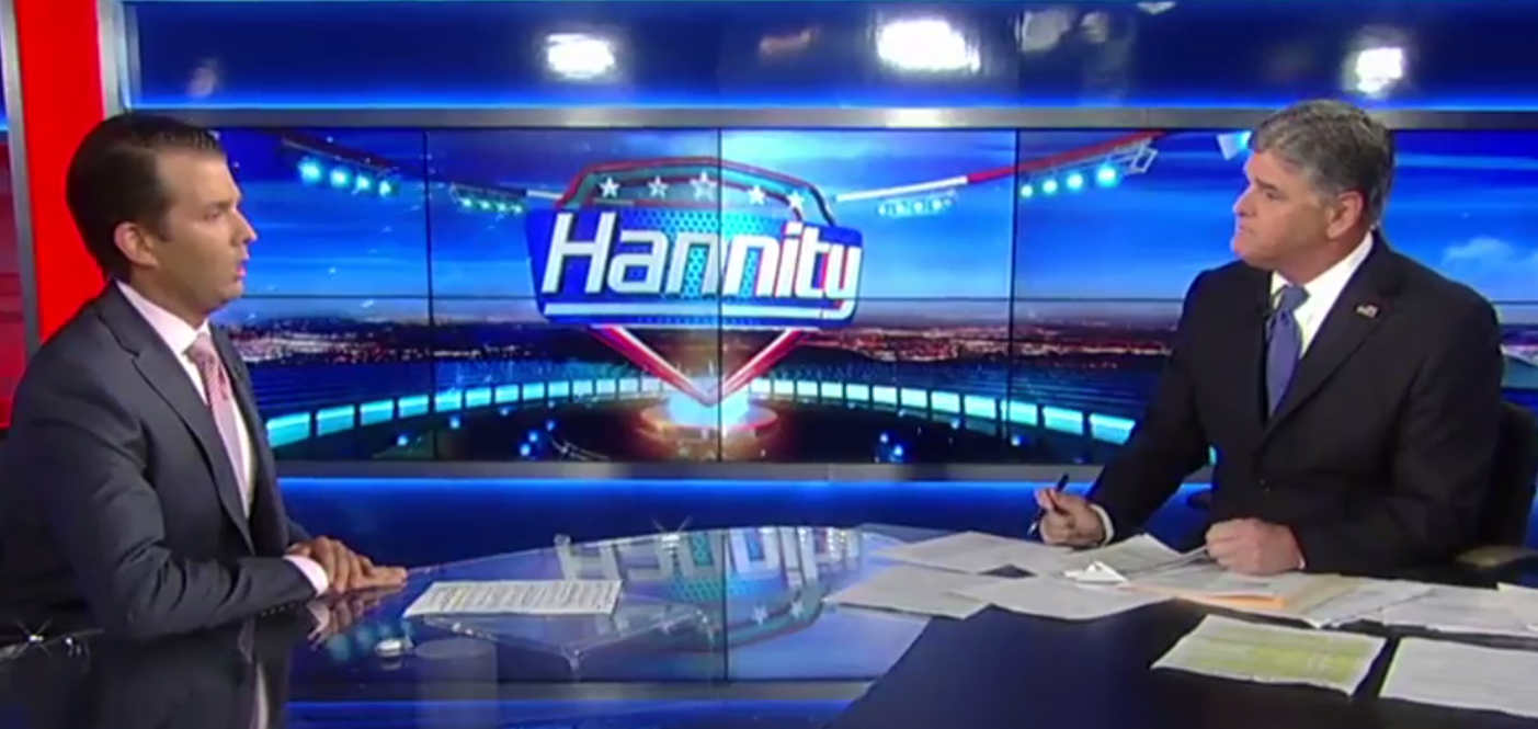 Donald Trump Jr. spoke with Fox News host Sean Hannity about his emails about materials from Russia that would undercut Hillary Clinton. (Screenshot)