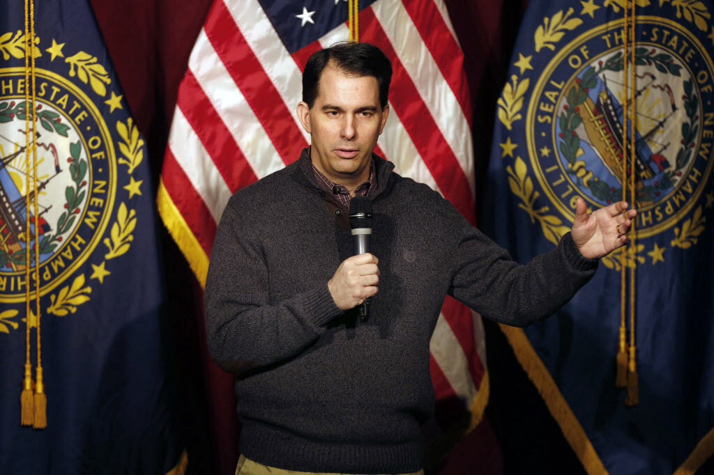 Gov. Scott Walker in the $1 sweater in question. (AP photo)
