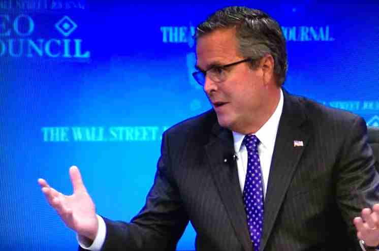 Jeb Bush at the 'Wall Street Journal' CEO Council meeting on Dec. 1, 2014, in Washington. (WSJ.com live stream)