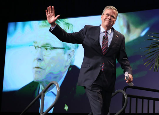 Former Gov. Jeb Bush takes the stage for a speech at Gov. Rick Scott's Economic Growth Summit on June 2, 2015, in Orlando. (Getty)