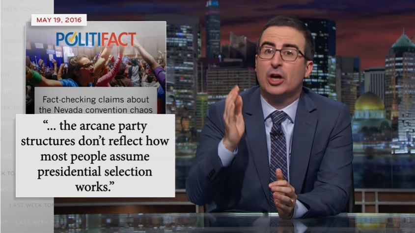 John Oliver talks about the Nevada convention on his HBO show 'Last Week Tonight.'