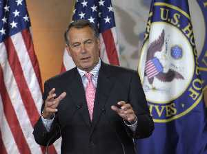 House Speaker John Boehner of Ohio gestures during a news conference Dec. 1, 2011, on Capitol Hill in Washington.