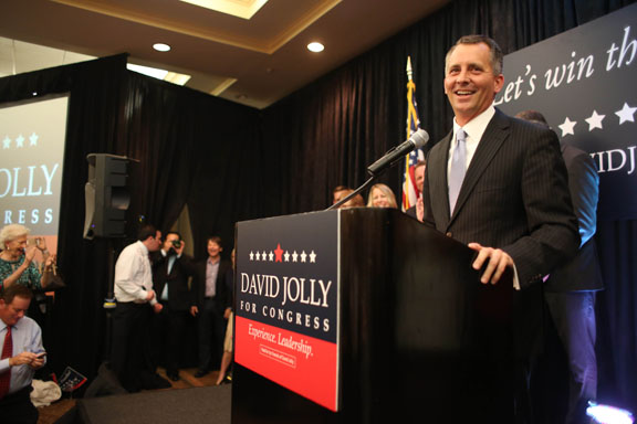 U.S. Rep. David Jolly celebrates winning a special election for Congress at the Sheraton Sand Key Resort in Clearwater Beach on March 11, 2014. (Tampa Bay Times photo)
