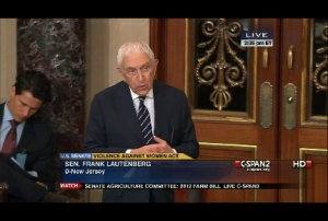 U.S. Sen. Frank Lautenberg speaks on the Senate floor on April 26.
