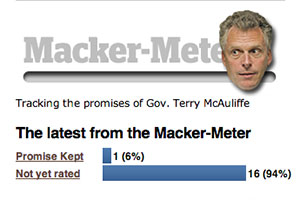 The Macker-Meter will track 17 campaign promises made by Gov. Terry McAuliffe.