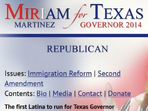 Republican candidate Miriam Martinez referred to herself as the first Latina to run for governor when we peeked at her website Nov. 11, 2013. After we described our findings, the website was amended.