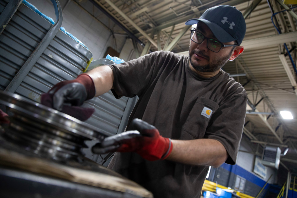 Jose Lopez works on a piece of equipment at Marini Manufacturing, Inc. in Racine, Wisconsin on Tuesday, July 16, 2019. Colin Boyle/Milwaukee Journal Sentinel