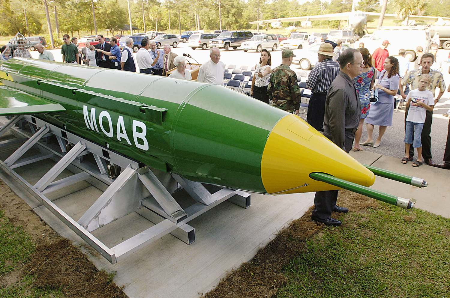 A GBU-43/B bomb is on display at Eglin Air Force Base in Florida in this May 2004 photo. (Northwest Florida Daily News via AP)