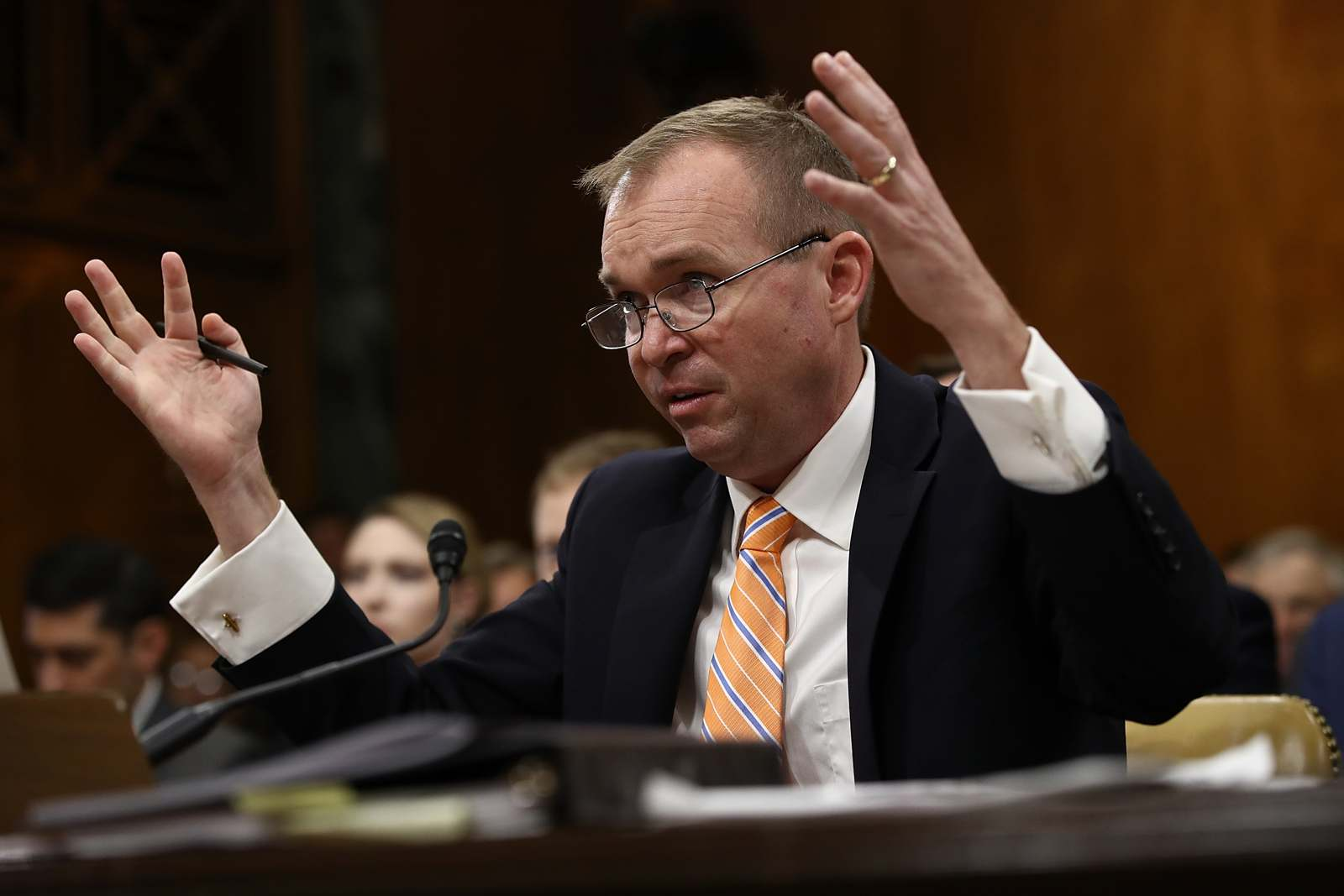 Office of Management and Budget Director Mick Mulvaney testifies, regarding the White House budget proposal, before the Senate Budget Committee May 25, 2017. (Photo by Win McNamee/Getty Images)