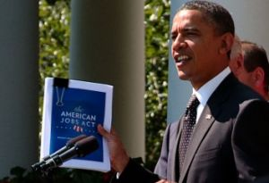 We've looked at three claims made recently about President Barack Obama's jobs bill, shown here in the binder clip.