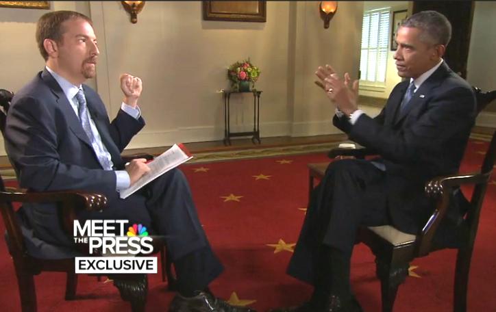 "Chuck Todd interviews President Barack Obama on ""Meet the Press."""