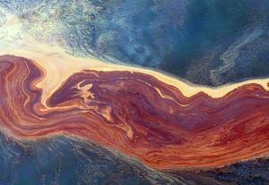 Crude oil churns across the surface of the Gulf of Mexico