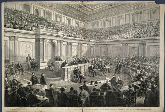 The U.S. Senate chamber in 1868.