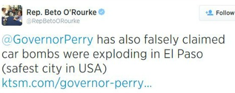 On Aug. 21, El Paso U.S. Rep. Beto O'Rourke said Rick Perry falsely said bombs were going off in El Paso. Which reminded us...