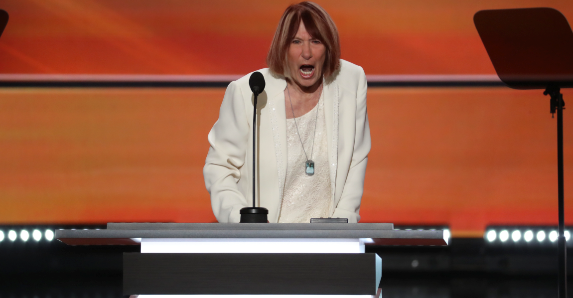Pat Smith, mother of Sean Smith, a U.S. information management officer who died in the attack on the U.S. Embassy in Benghazi, speaks on the first day of the Republican National Convention, at the Quicken Loans Arena in Cleveland, July 18, 2016. (NYT)