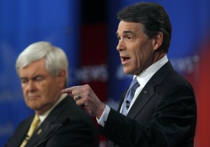 Texas Gov. Rick Perry was on stage twice over the weekend with the other Republican presidential candidates.