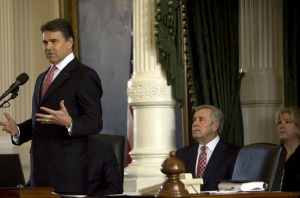 Gov. Rick Perry speaks to the Senate on the first day of the session.