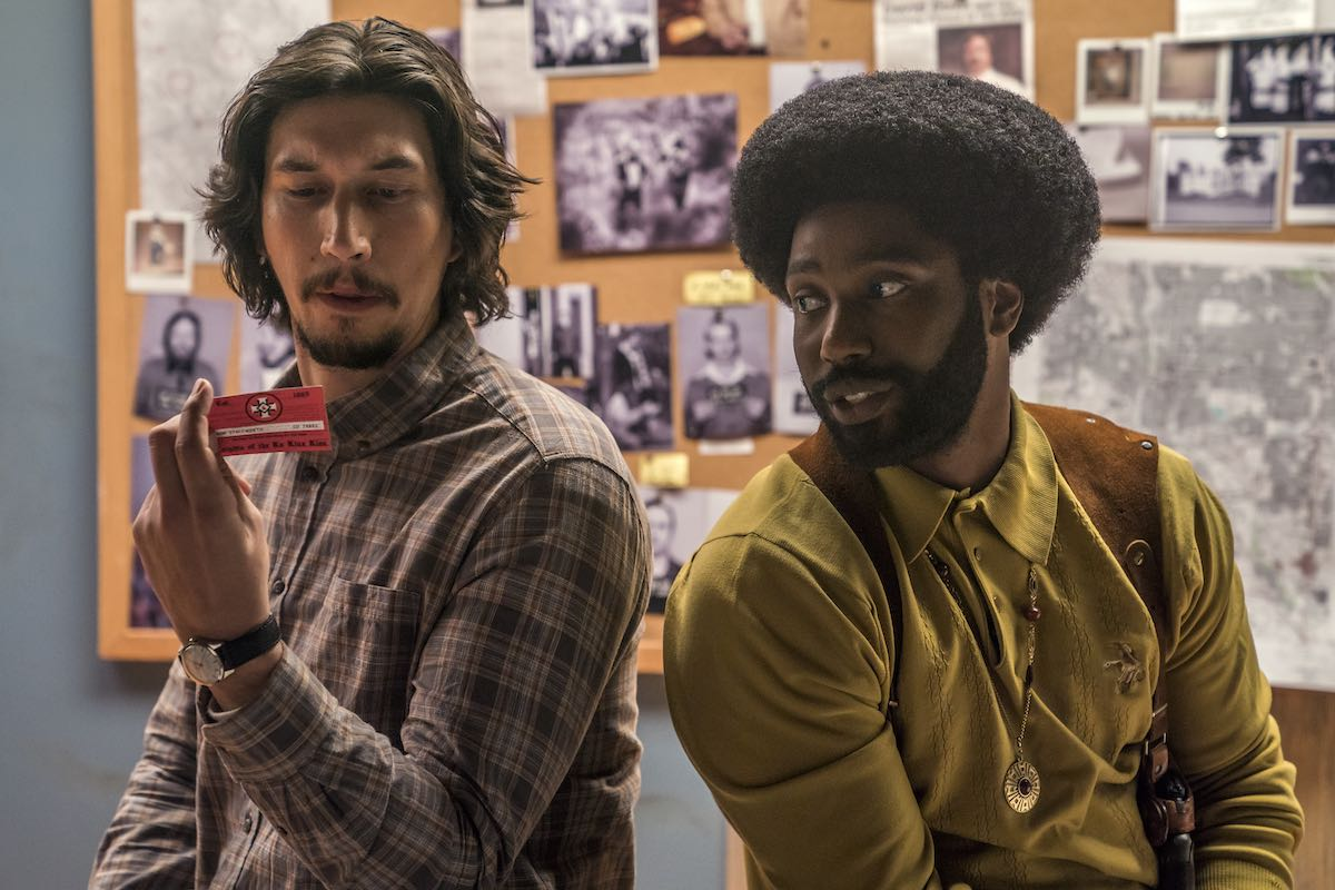 Adam Driver as Flip Zimmerman and John David Washington as Ron Stallworth in Spike Lee's Blackkklansman. (Photo courtesy of Focus Features.)