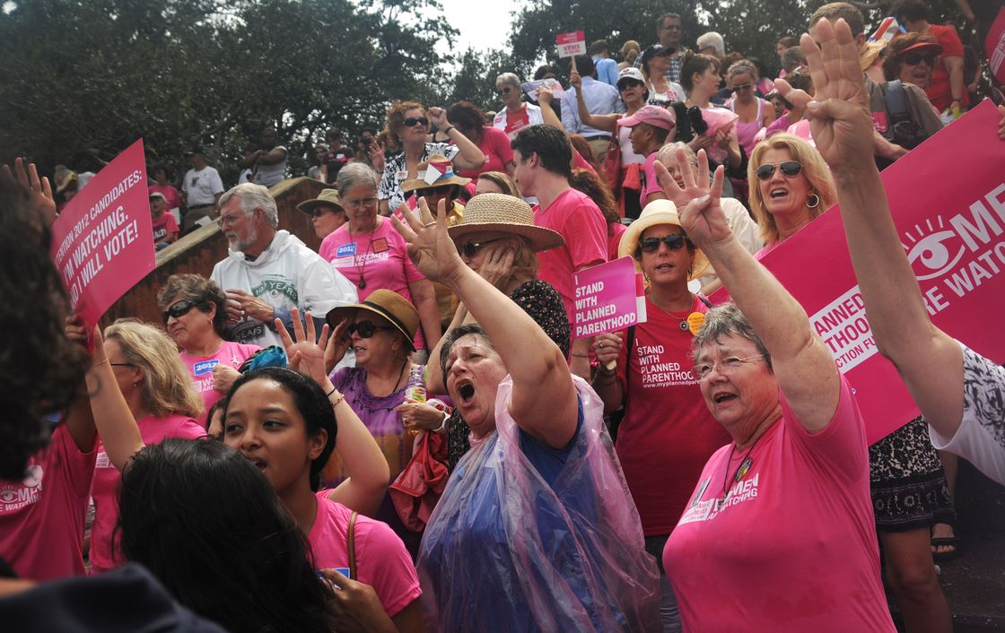 "Planned Parenthood supporters chant ""four more years!"" during a rally during the second day of the Republican National Convention August 29, 2012 in Tampa, FL. (Leah Millis 