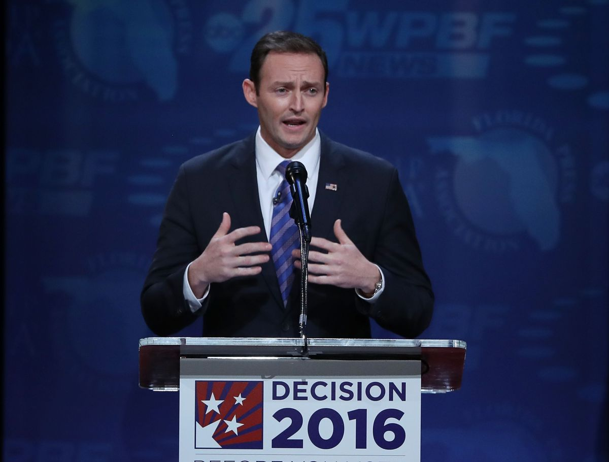 Rep. Patrick Murphy (D-FL) speaks during his debate against Republican Sen. Marco Rubio (R-FL) during their U.S. Senate debate being held at Broward College on October 26, 2016 in Davie, Florida. (Photo by Joe Raedle/Getty Images)