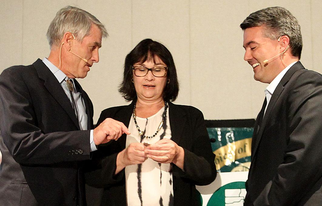 U.S. Senator Mark Udall and U.S Rep. Cory Gardner debate in Colorado Saturday, Sept. 6, 2014.