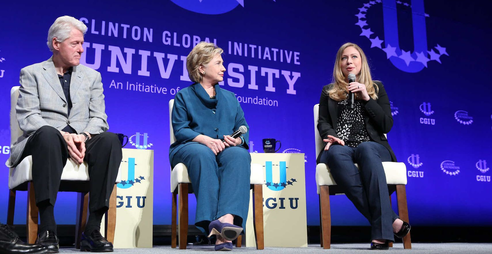 The Clinton family wraps up a Clinton Foundation event in 2014.  The foundation's donor list has drawn scrutiny on the campaign trail. (Barbara Kinney / Clinton Global Initiative)