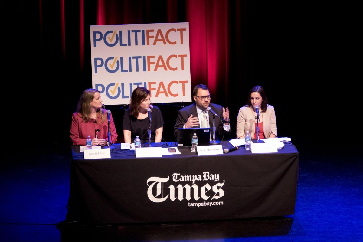 Tampa Bay Times deputy managing editor for politics and business Amy Hollyfield, PolitiFact editor Angie Holan, executive director Aaron Sharockman and deputy editor Katie Sanders discuss fact-checking March 1 in St. Petersburg. | Boyzell Hosey, Times