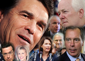 Clockwise from top left are Texas Gov. Rick Perry, Arizona Sen. John McCain, Texas Sen. John Cornyn, Texas Lt. Gov. David Dewhurst, Texas U.S. Rep. John Carter, Minnesota U.S. Rep. Michele Bachmann, and TV hosts Gretchen Carlson and Stephen Colbert.