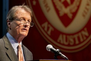 """Bill Powers, president of the University of Texas at Austin, boasted about the university's number of PhDs awarded annually during his Sept. 27, 2012, """"State of the University"""" address (Austin American-Statesman photo, Jay Janner)."""