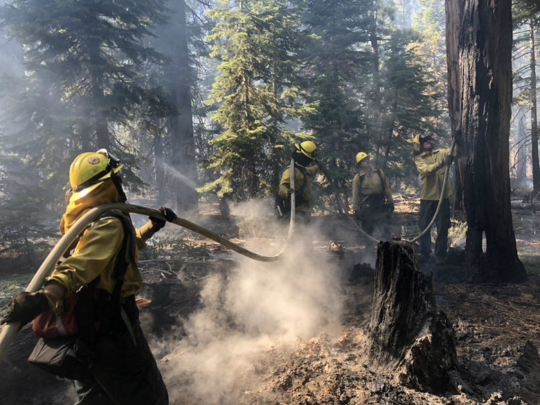 Gov. Jerry Brown's administration says it has prioritized fire mitigation in California's forests, including the use of prescribed burns. In this photo, crews work on a prescribed burn in the Tahoe National Forest. Ezra David Romero / Capital Public Radio