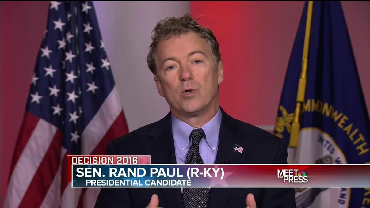 "Sen. Rand Paul, R-Ky., criticizes the missed votes of his GOP presidential foes and fellow senators, Ted Cruz and Marco Rubio, on NBC's ""Meet the Press"" on Jan. 3, 2016. (NBC photo)"