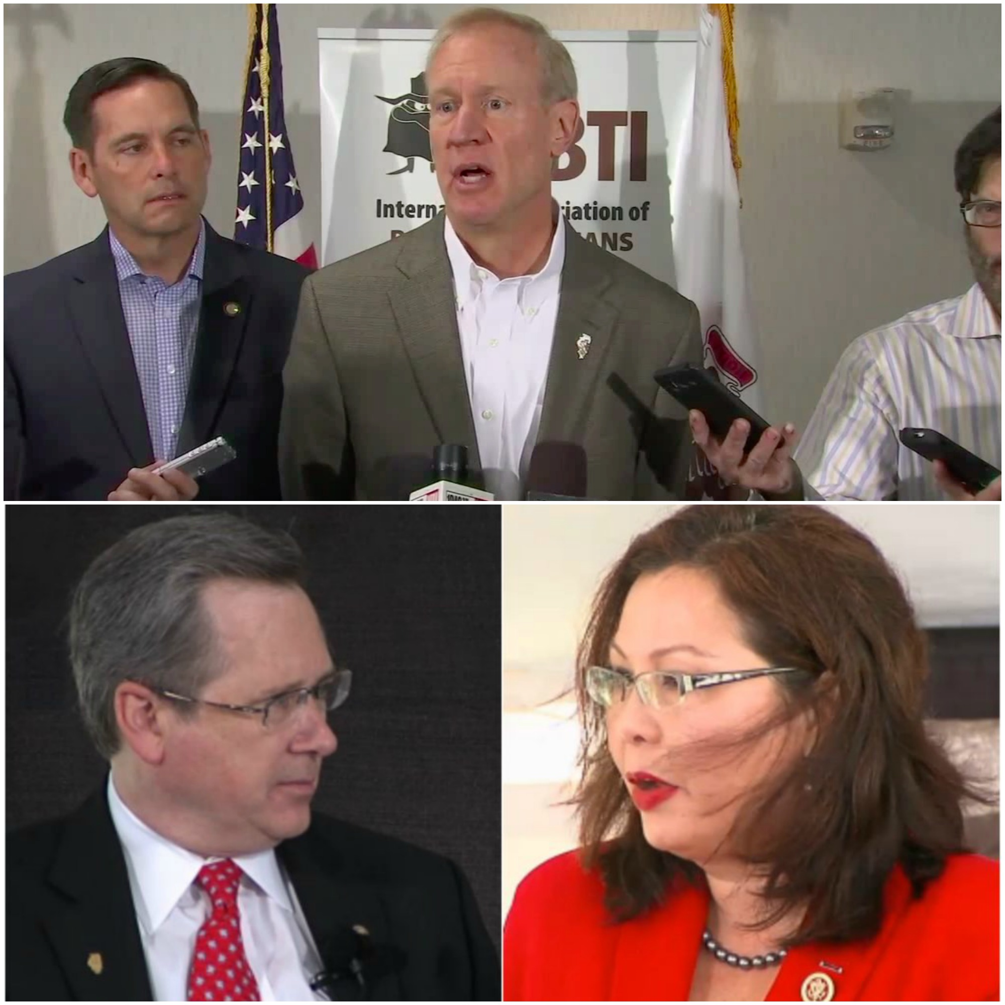 Clockwise from top: Illinois Gov. Bruce Rauner, U.S. Rep. Tammy Duckworth, U.S. Sen. Mark Kirk