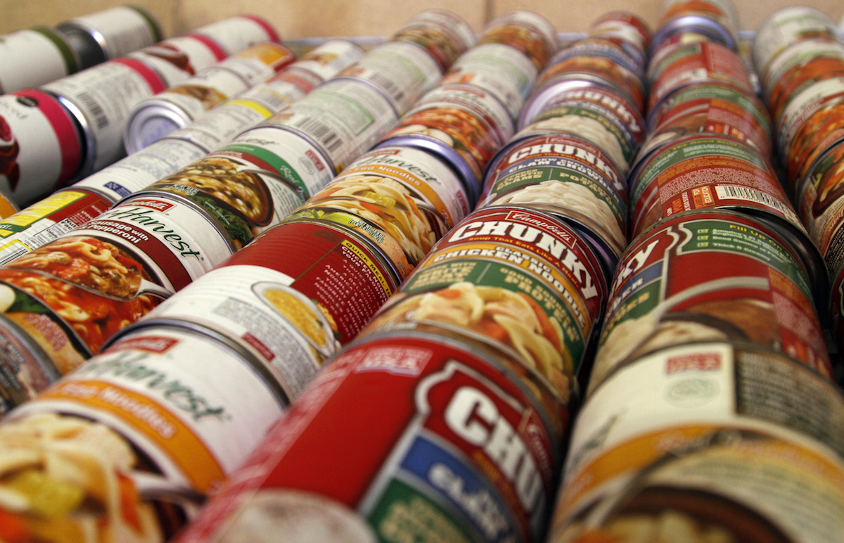 Cans of soup are lined up in the pantry as volunteers sort the items for delivery. (Tampa Bay Times file, 2010)