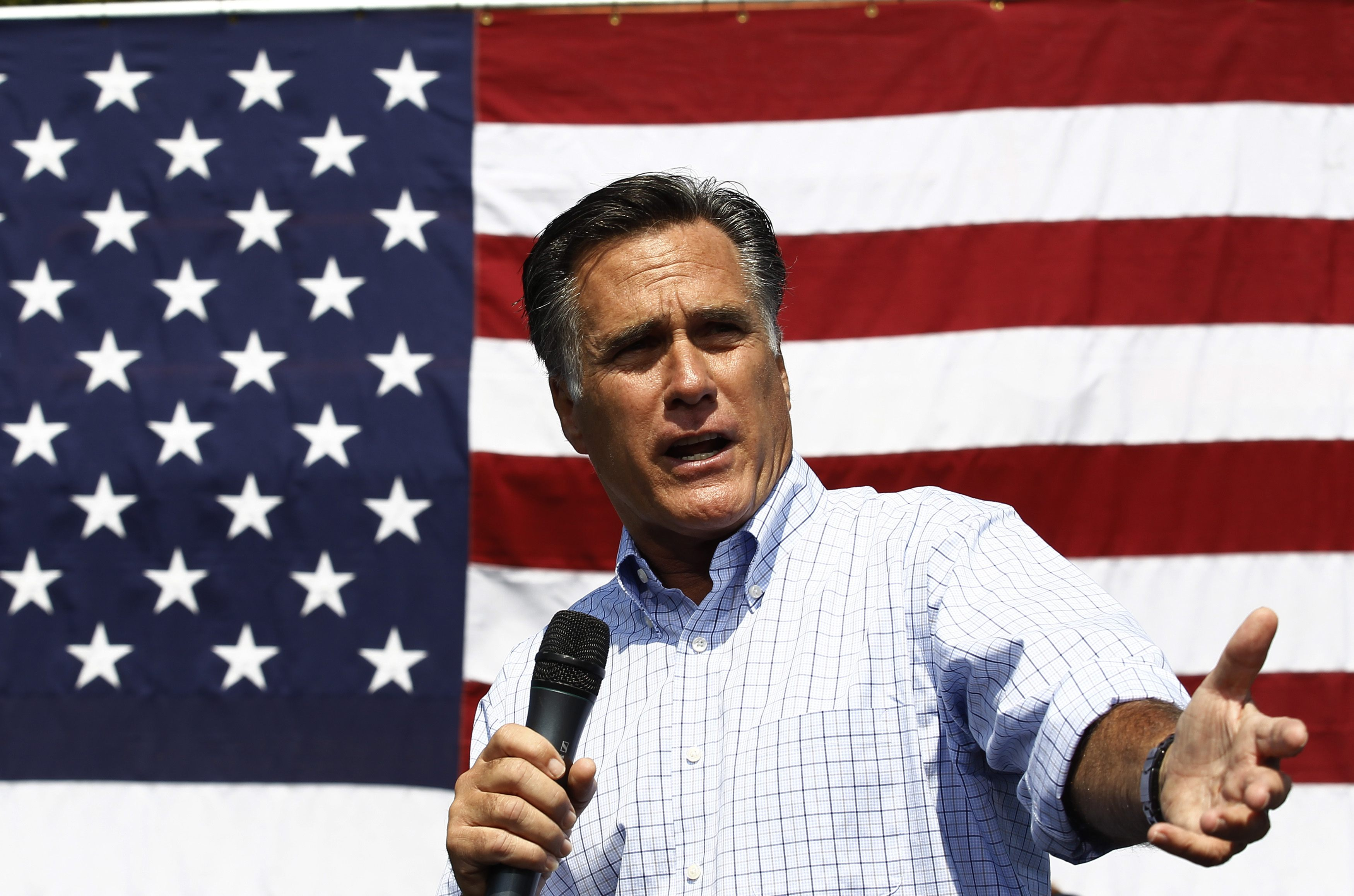 Image result for romney with flag