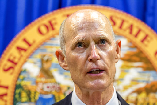 Florida Governor Rick Scott lays out his school safety proposal during a press conference at the Florida Capitol in Tallahassee, Fla., Feb 23, 2018. (AP)