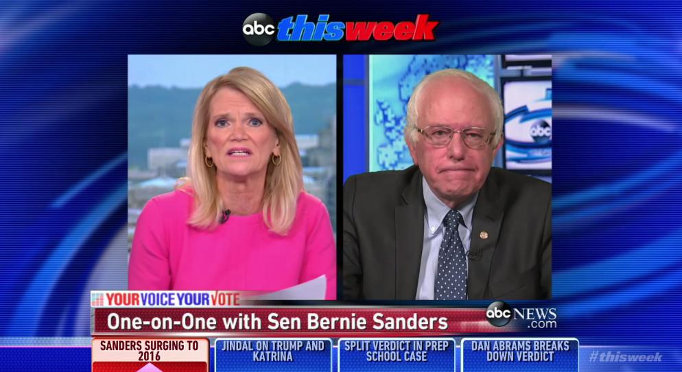 """Democractic presidential candidate Bernie Sanders was asked to discuss foreign policy Aug. 30, 2015, on ABC's """"This Week."""" (Screengrab)"""