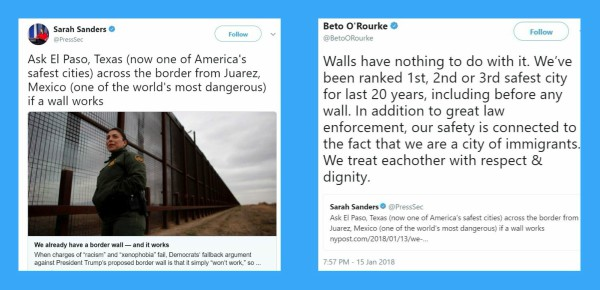 On Jan. 15, 2018, Sarah Huckabee Sanders posted the tweet to the left and Beto O'Rourke of Texas responded with the tweet on the right.