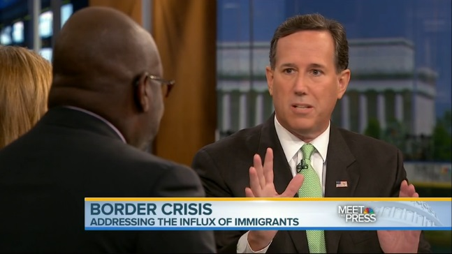 "Former GOP presidential candidate Rick Santorum debates immigration with Detroit Free Press editorial page editor Stephen Henderson on ""Meet the Press"" on July 13, 2014."