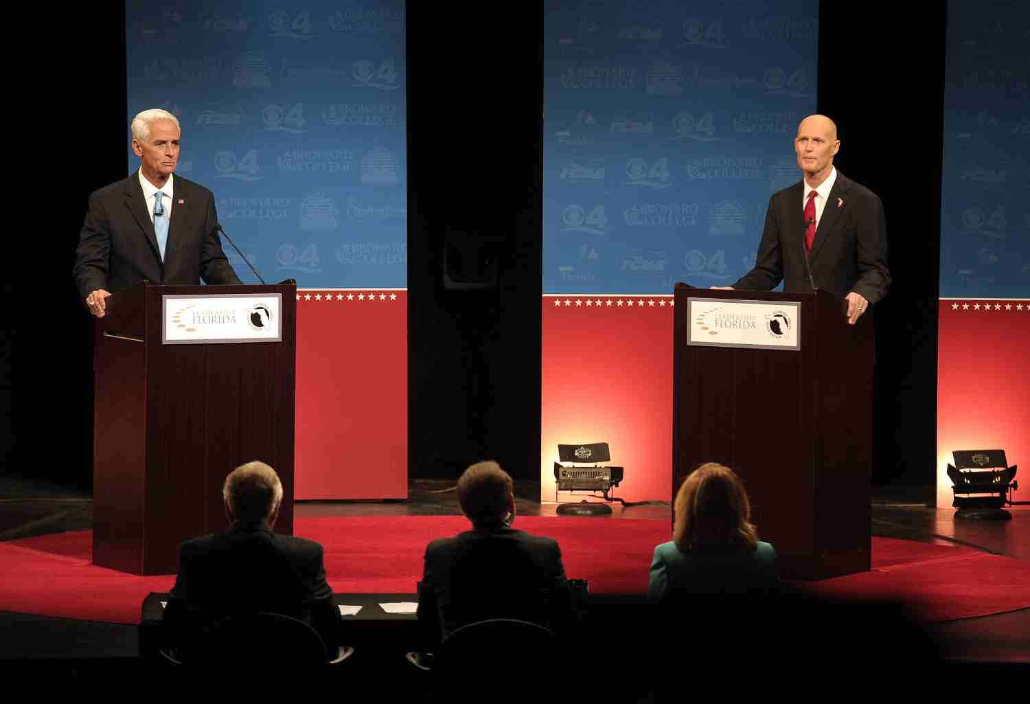 Former Gov. Charlie Crist and current Gov. Rick Scott debated at Broward College on Oct. 15, 2014.